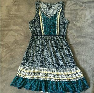 Lucky brand paisley boho fit and flare blue dress